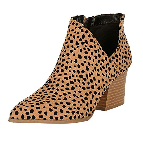 DEARWEN Womens Ankle Boots Fashion Pointed Toe Chunky Block Shoes Side Zipper Cut Out Leopard Low Heel Booties Leopard 40