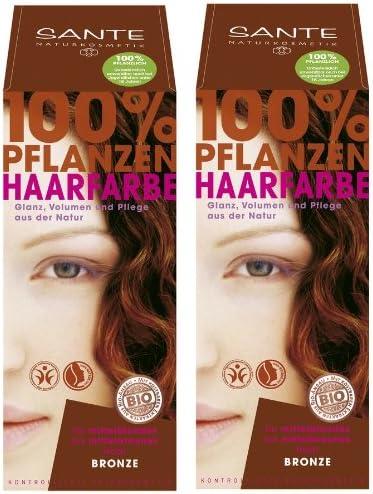 Sante - Tinte para el pelo vegetal, 2 unidades, 100 g, color bronce, para una gran experiencia de color