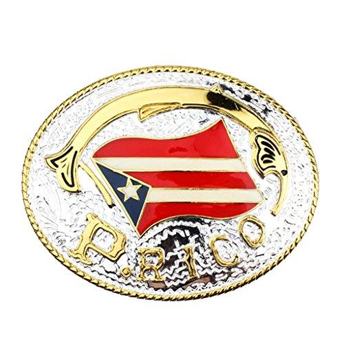 MonkeyJack Puerto Rico Flag Banner Men Patriot Belt Buckle Jeans Oval Shape Ornaments