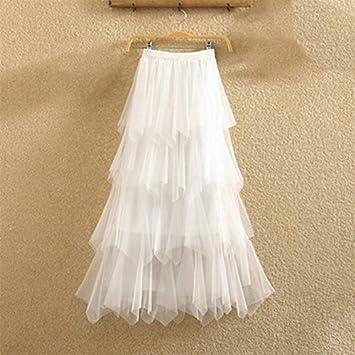 HEHEAB Falda,Las Mujeres Blancas Irregulares Faldas De Tul ...