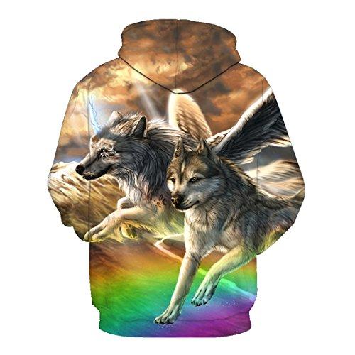 Femme shirt Top Homme Capuche À 7 Loup Motif Veste Pour Blouse Sweat Acvip Pq5fBf