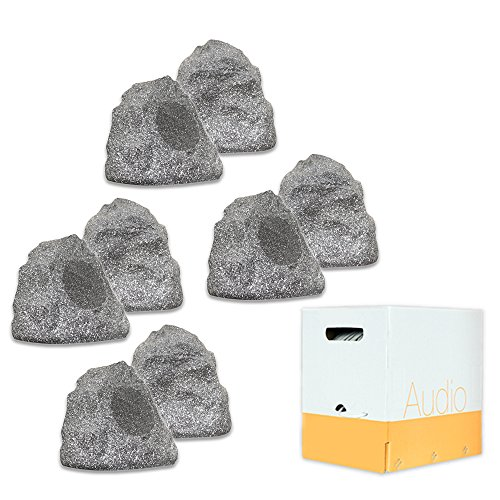 Theater Solutions 8R4G Outdoor Granite Rock 8 Speaker Set with Wire for Deck Pool Spa Patio Garden by Theater Solutions