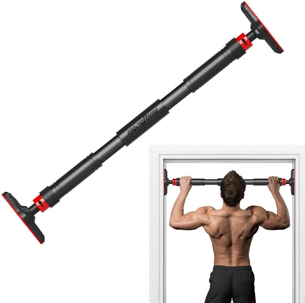 ONETWOFIT Doorway Pull Up Bar no Screws,Adjustable to Doors with a Width of 27.5-35.4 Inches//with Larged Anti-Slip Mat and Safety Lock//Made of Sturdy Steel,Max User Weight up to 330lbs OT160