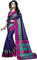 Vatsla Enterprise Women's Cotton Saree With Blouse Piece(VPYSPURPLESAREE_PURPLE_COLOUR)