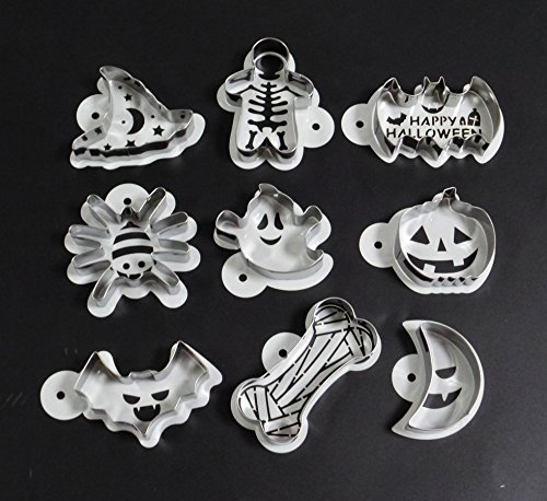 Yunko Halloween CupCake Stencils Cookie Template and Cookie Cutters (18PCS)