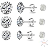 3 Sizes of Spectacular Cubic Zirconia Set in 925 Sterling Silver Stud Earrings for Men, Women, Boys and Girls. Stones are 4mm, 5mm and 6mm
