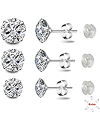 Sterling Silver Studs Earrings Round Cut Cubic Zirconia NOT STAINLESS STEEL 4mm 5mm 6mm Sizes Platinum-Plated Stud 3 Sets for Women & Men's Ear Piercing