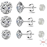 Poplar-Sterling Silver Studs Earrings Round Cut Cubic Zirconia NOT STAINLESS STEEL 4mm 5mm 6mm Sizes Platinum-Plated Stud 3 Sets for Women & Men's Ear Piercing