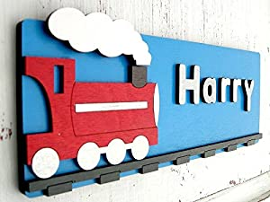 Personalised Boys Bedroom Door Sign Train Design Bedroom Door Name Plaque Handmade Wooden 3d