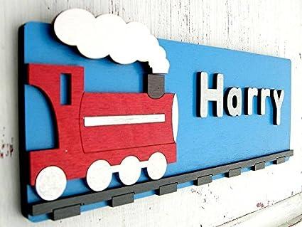 Personalised Boys Bedroom Door Sign - Train Design, Bedroom Door Name  Plaque, Handmade Wooden 3D Bedroom Name Sign, Kids Bedroom Name Plate