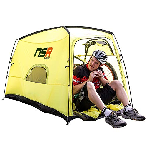 NSR Bicycle Camping Tent, Anti-Theft Design Secures and Stores Bike Inside Tent [Road Cycle/Yellow]