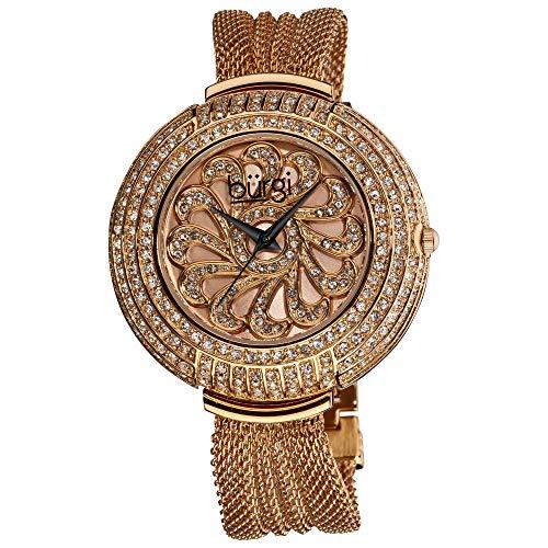 - Burgi Flower Applique Dial On Genuine Crystals Display Women's Watch - Unique Design Stainless Steel Mesh Bracelet - BUR051