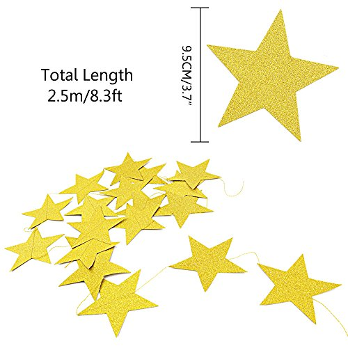 Coceca 50ft Star Paper Garland Bunting Banner Hanging Decoration for Party Decoration, 3.7inches (Gold) by Coceca (Image #1)