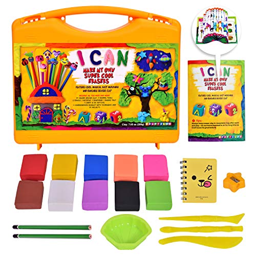 KRAFTZLAB Make Your Own Mini Erasers Clay Craft Kit - All in One Mini Erasers Set in Carry and Go Plastic Suitcase - Ultimate DIY Craft Kits Gift Idea for Kids