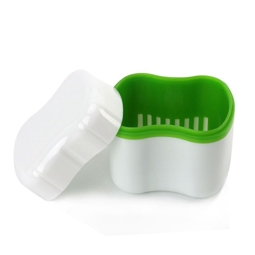 MS.DEAR Denture Case with Strainer, Denture Case Travel, Denture Bath Case with Basket Attractive Durable Design, Size Standard