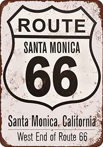 Santa Mónica de la ruta 66 final Cartel de metal tin sign ...