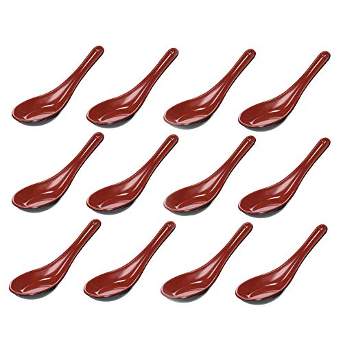Red Soup Spoon - JapanBargain S-2384x12, Set of 12 Melamine Plastic Chinese Wonton Soup Spoons, Black/Red