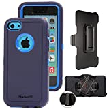 iphone5c clip case - iPhone 5c with Belt Clip & Built-in Screen Protector Cover Harsel Heavy Duty Defender Shockproof Military Rubber Resistant Hybrid Outdoor Sport Tough Armor Case for iphone 5C (Navy Blue)