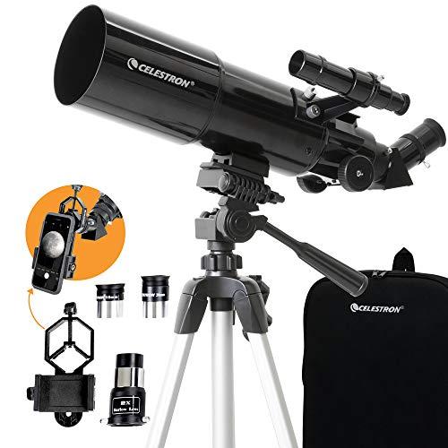 🥇 Celestron – 80mm Travel Scope – Portable Refractor Telescope – Fully-Coated Glass Optics – Ideal Telescope for Beginners – BONUS Astronomy Software Package – Digiscoping Smartphone Adapter