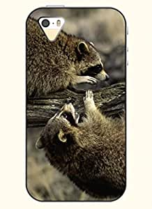 OOFIT Phone Case design with Two Little Raccoon for Apple iPhone 4 4s 4g