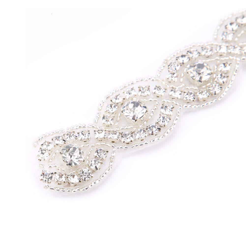 Akozon Adorno Ropa de 8 Formas de dise/ño Hecho a Mano Rhinestone Crystal Cadena Aplique Ajuste para el Vestido de Boda