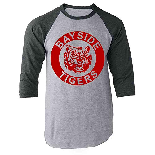 Bayside High School Tigers 90s Retro Clothes Gray M Raglan Baseball Tee Shirt -