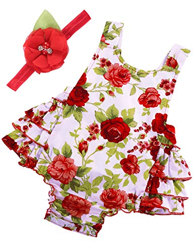 PrinceSasa Baby Girl Clothes Red Rose Floral Ruffles Summer Cake Smash Outfit and Headband for Newborn Gifts,A9,7-12 Months(Size M)