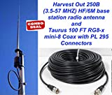Harvest Out 250B (3.5-57 MHZ) HF/6M Vertical base w/Taurus100 Ft Coax Cable