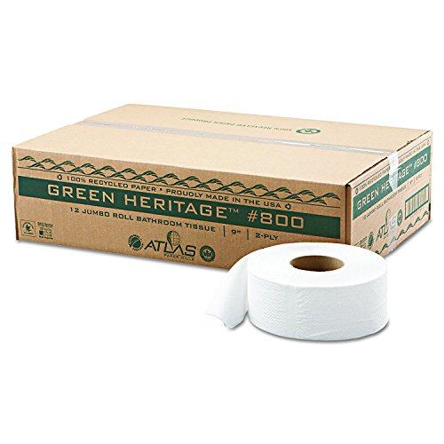 Roll Green Jumbo - Atlas 800GREEN Green Heritage Jumbo Junior Roll Toilet Tissue, 2-Ply, 9