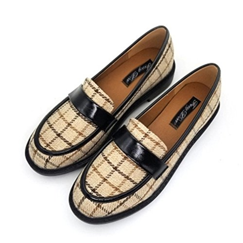 GIY Womens Classic Penny Loafers Flat Moccasin Square Toe Slip-On Grid Casual Dress Loafer Oxford Shoes Beige duGe8qeyE