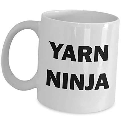 Amazon.com: Knitter Ceramic Mug Funny Gifts Yarns Ninja ...