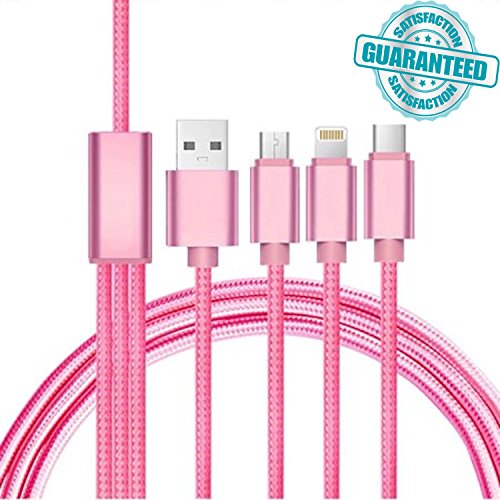TechNoob Multi Charger 3-in-1 Premium Nylon Braided Multiple USB Charger Cord Adapter with Lightning/ Type c/ Micro USB/ Mini USB Port Connectors for iPhone iPad Android Phones Universal Use (Pink)