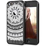 5s cute protective cases - iPhone 5 5S Case, iPhone SE Case, SmartLegend Retro Totem Mandala Floral Pattern Clear Acrylic PC Hard Back Cover with TPU Bumper Frame Hybrid Transparent Protective Case for iPhone 5 5S SE - Black