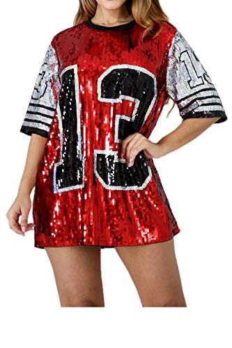 Red Jersey Dress - STAY CHIC Sequins Short Sleeve 08 Print Casual Mini Dress (One Size, 13 red)