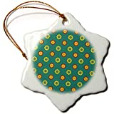 3dRose Anne Marie Baugh - Patterns - Cute Red, Yellow, Peach, and Green Mexican Flower Pattern - 3 inch Snowflake Porcelain Ornament (ORN_295464_1)