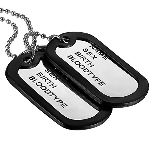 (Oidea 2pcs Mens Punk Rock Military Dog Tag Pendant Necklace Silver and Black Tone for Birthday Gifts)