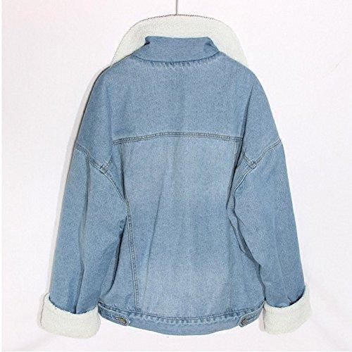 de invierno invierno Otoño larga chaqueta mezclilla de algodón acolchada denim de de amp;NIUZAIKU algodón terciopelo más mujer mezclilla TT engrosamiento e suelta manga chaqueta de AYUxq