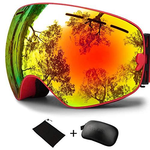 Tobbiheim 스키 고글,스노보드 고글 스노우 고글 UV400자외선 컷 렌즈 교환 가능 구면 더블 렌즈 내충격 환기 방풍 방설 흐림금지 안경 대응 남녀 겸용 등산 스키용 레드/블루/블랙