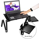 Ferty| Portable Laptop Table Aluminum Stand with Mouse Board Adjustable Stand Tray CPU Fans,Lightweight Multifunction Home Stand-Black【US TOCK】