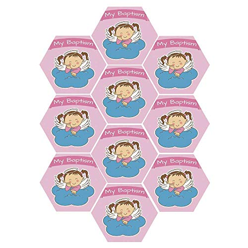 (C COABALLA Baptism Durable Hexagon Ceramic Tile Stickers,Pair of Wings on a Cloud Girl Baptism Anniversary Baby Announcement Cartoon Art for Living Room Kitchen,9