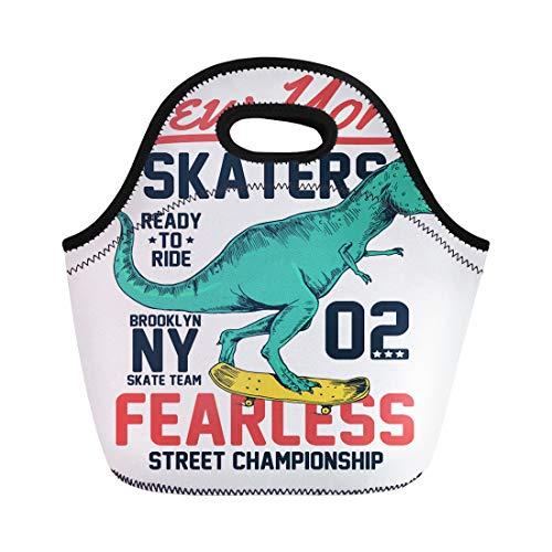 Semtomn Neoprene Lunch Tote Bag Skateboard Skater Dinosaur Character Boy Kid Tee Print-Shirt Skate Reusable Cooler Bags Insulated Thermal Picnic Handbag for Travel,School,Outdoors,Work