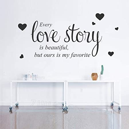 Romantic Love Quotes Wall Decal Bedroom Every Love Story Wall