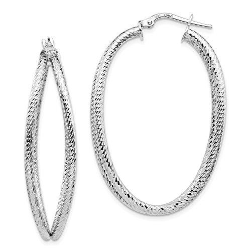 Leslie's 14k White Gold D/C Hoop Earrings LE1819W by Leslies