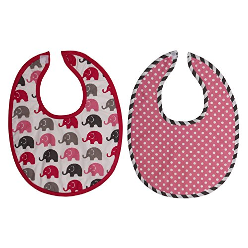 Bacati Elephants Burpies Set, Pink/Grey