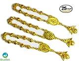 25 pcs Gold Color Baptism Favors with Angels Mini Rosaries Gold Plated Acrylic Beads/ Recuerditos De Bautismo/ Christening Favors/ Decenarios/ Decades/ Finger Rosaries (Gold Angel)