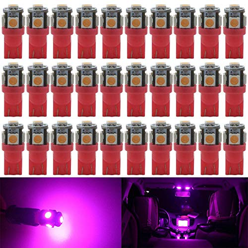 AMAZENAR 30-Pack Pink Replacement Stock # 194 T10 168 2825 W5W 175 158 Bulb 5050 5 SMD LED Light,12V Car Interior Lighting for Map Dome Lamp Trunk Dashboard Parking Lights - Best Value