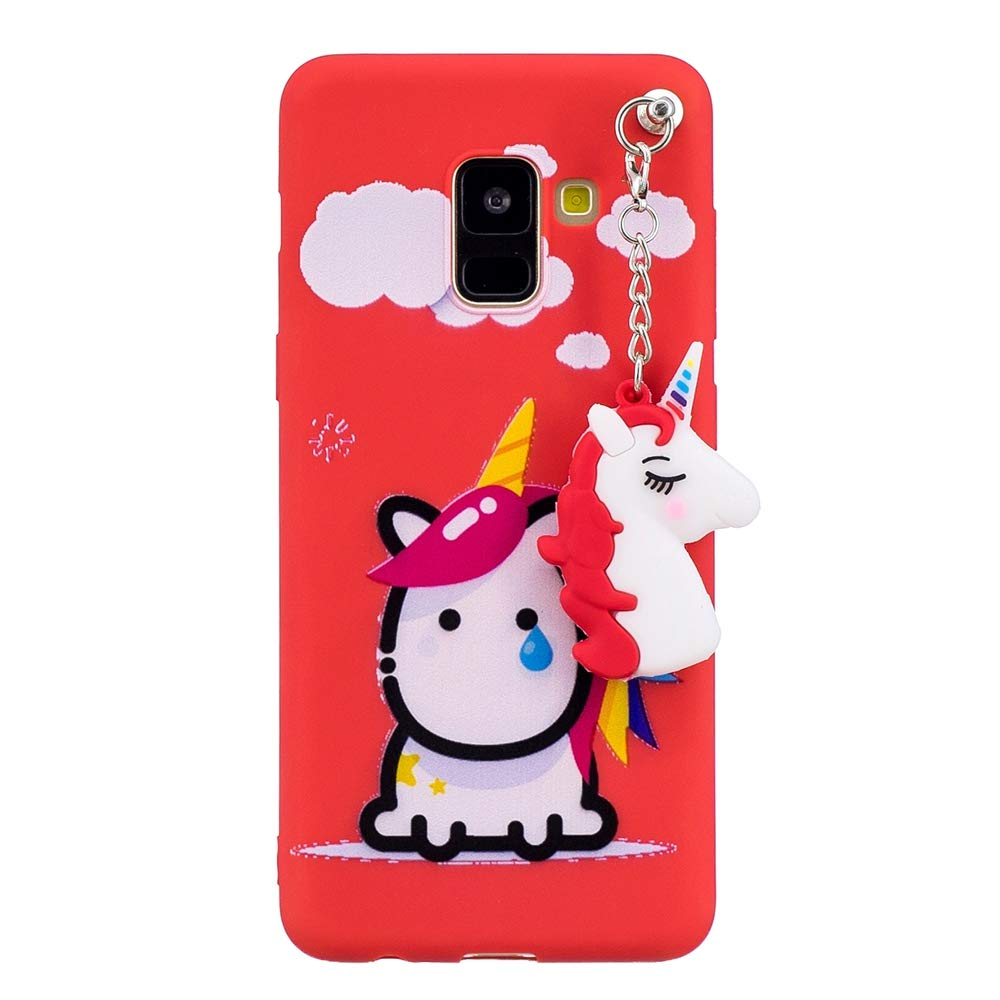 Galaxy A8+ 2018 Case, Yoodi Ultra Slim Cute Case Lightweight Shell with Pendant Soft TPU Shockproof Bumper Cover for Samsung Galaxy A8+ 2018 6.0' - Red YD390911