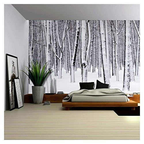 Mural of a Forest Covered in a Blanket of Snow Wall Mural