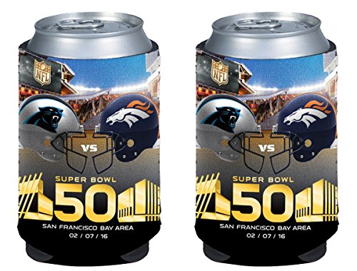 NFL Super Bowl 50 Match Up Dueling Helmets Carolina Panthers vs Denver Broncos Beverage Drink Holder Coolers - Pick Style