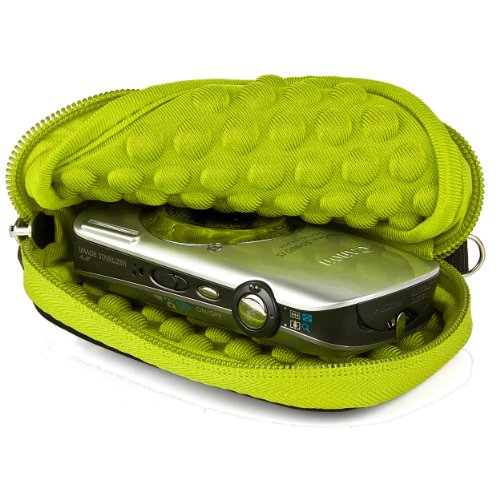 Exilim Digital Camera Case Pouch - SumacLife Microfiber Bubble Sleeve Case for Casio Exilim EX-Series Digital Cameras (Green)